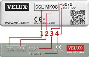 Exemple Plaque identification VELUX à partir de janvier 2013