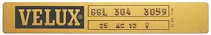Exemple Plaque identification VELUX de 1992 à 2000
