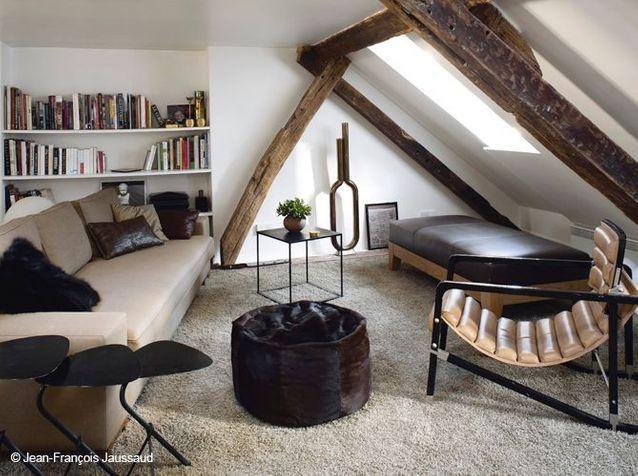 meubles bas aménagement sous les toits salon optimiser espace sous toits